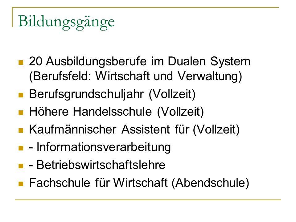 Bildungsgänge 20 Ausbildungsberufe im Dualen System (Berufsfeld: Wirtschaft und Verwaltung) Berufsgrundschuljahr (Vollzeit)
