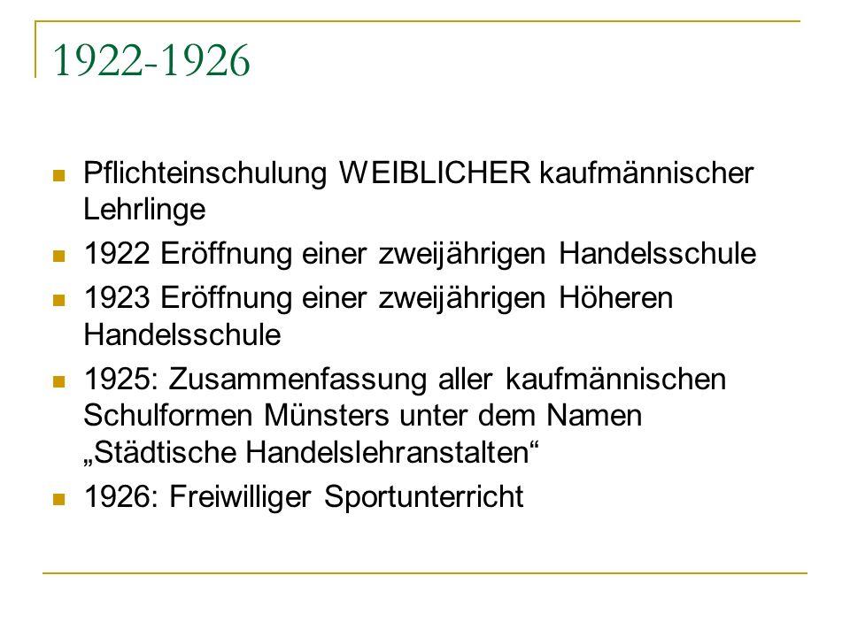 1922-1926 Pflichteinschulung WEIBLICHER kaufmännischer Lehrlinge