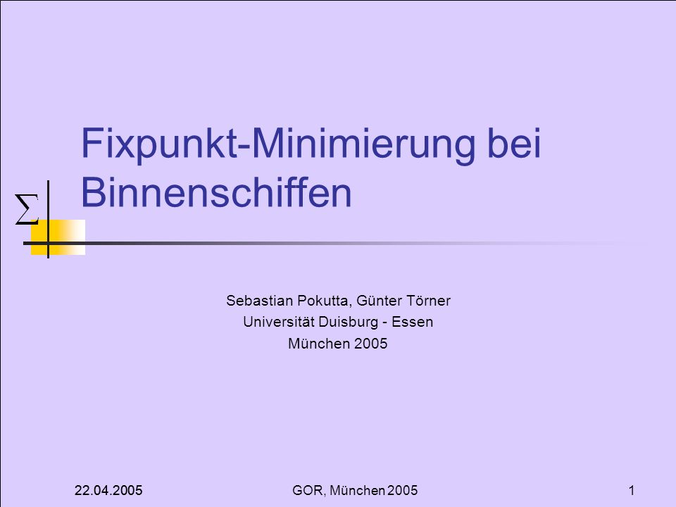 Fixpunkt-Minimierung bei Binnenschiffen