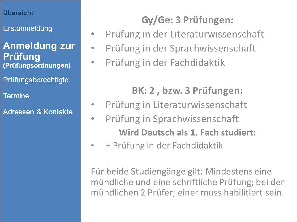 Wird Deutsch als 1. Fach studiert: