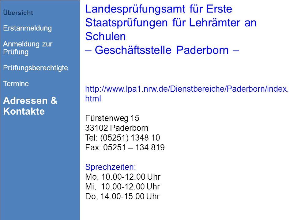 Landesprüfungsamt für Erste Staatsprüfungen für Lehrämter an Schulen – Geschäftsstelle Paderborn –