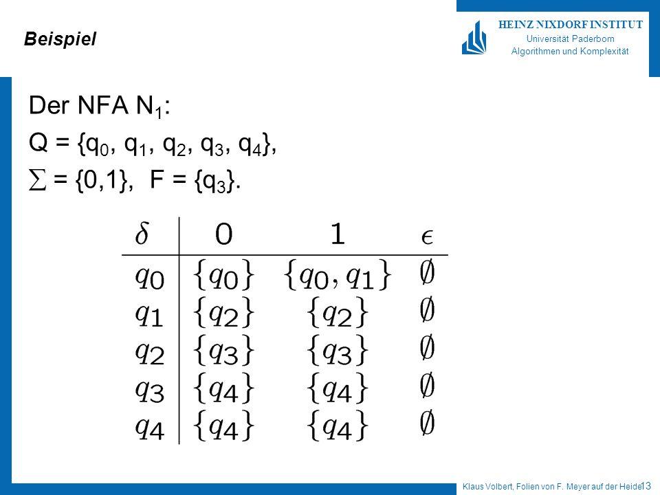Beispiel Der NFA N1: Q = {q0, q1, q2, q3, q4}, = {0,1}, F = {q3}.