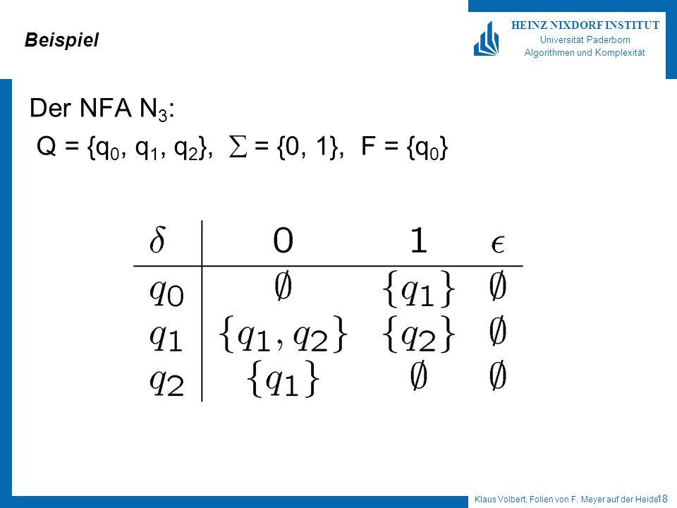 Beispiel Der NFA N3: Q = {q0, q1, q2},  = {0, 1}, F = {q0}