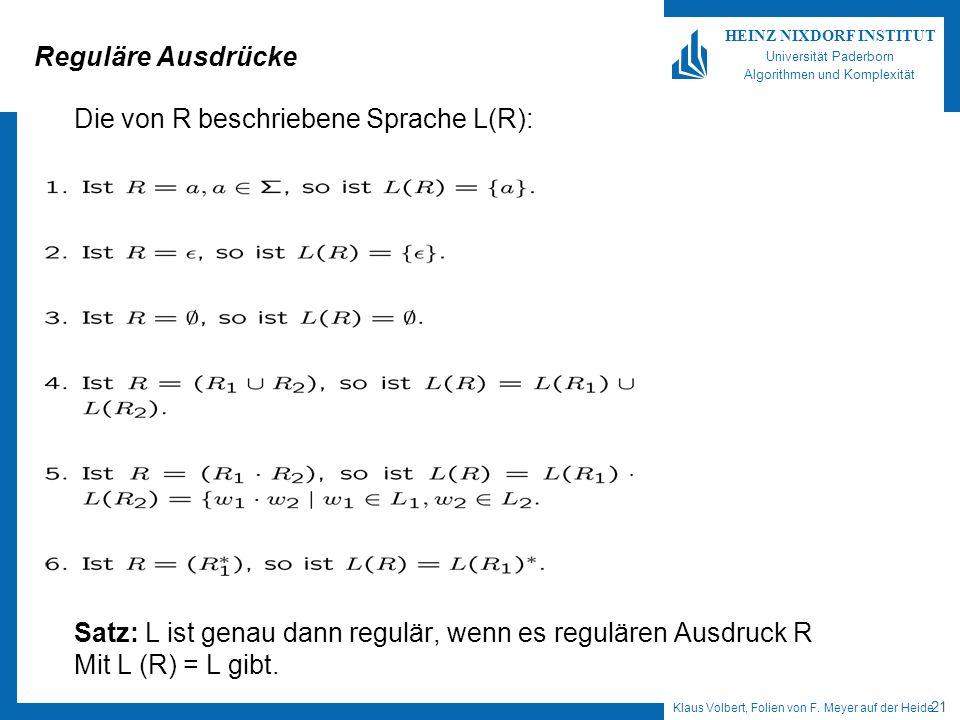 Reguläre Ausdrücke Die von R beschriebene Sprache L(R): Satz: L ist genau dann regulär, wenn es regulären Ausdruck R.