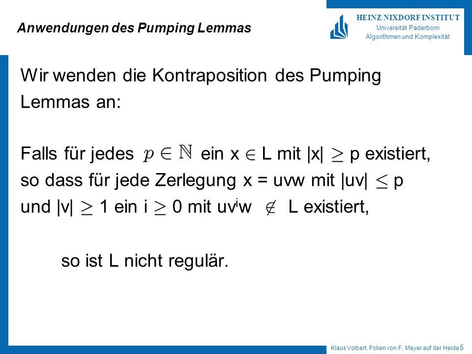 Anwendungen des Pumping Lemmas