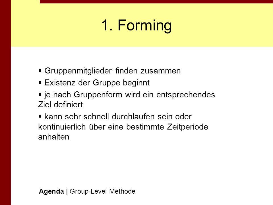1. Forming Gruppenmitglieder finden zusammen