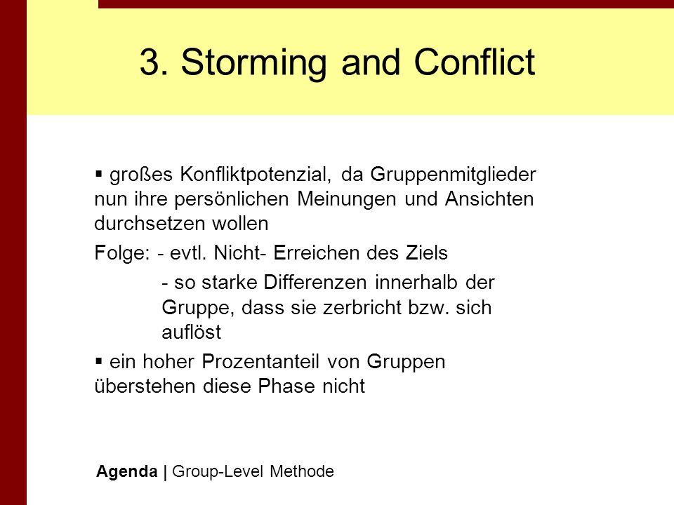 3. Storming and Conflictgroßes Konfliktpotenzial, da Gruppenmitglieder nun ihre persönlichen Meinungen und Ansichten durchsetzen wollen.