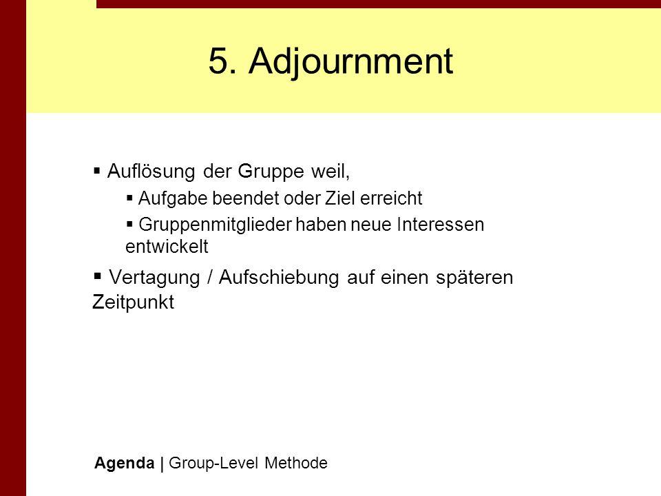 5. Adjournment Vertagung / Aufschiebung auf einen späteren Zeitpunkt