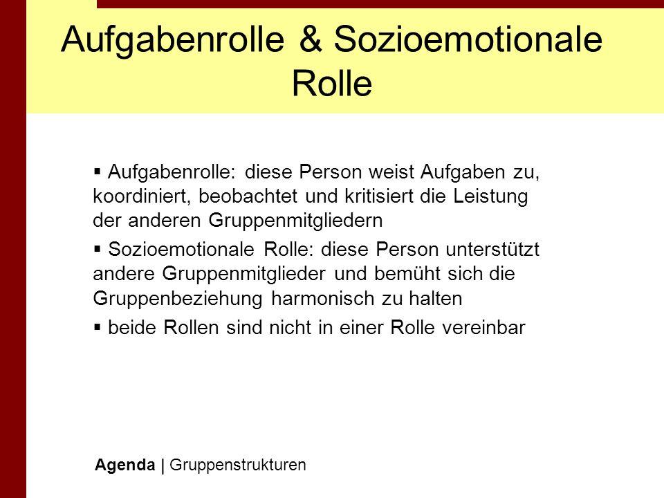 Aufgabenrolle & Sozioemotionale Rolle