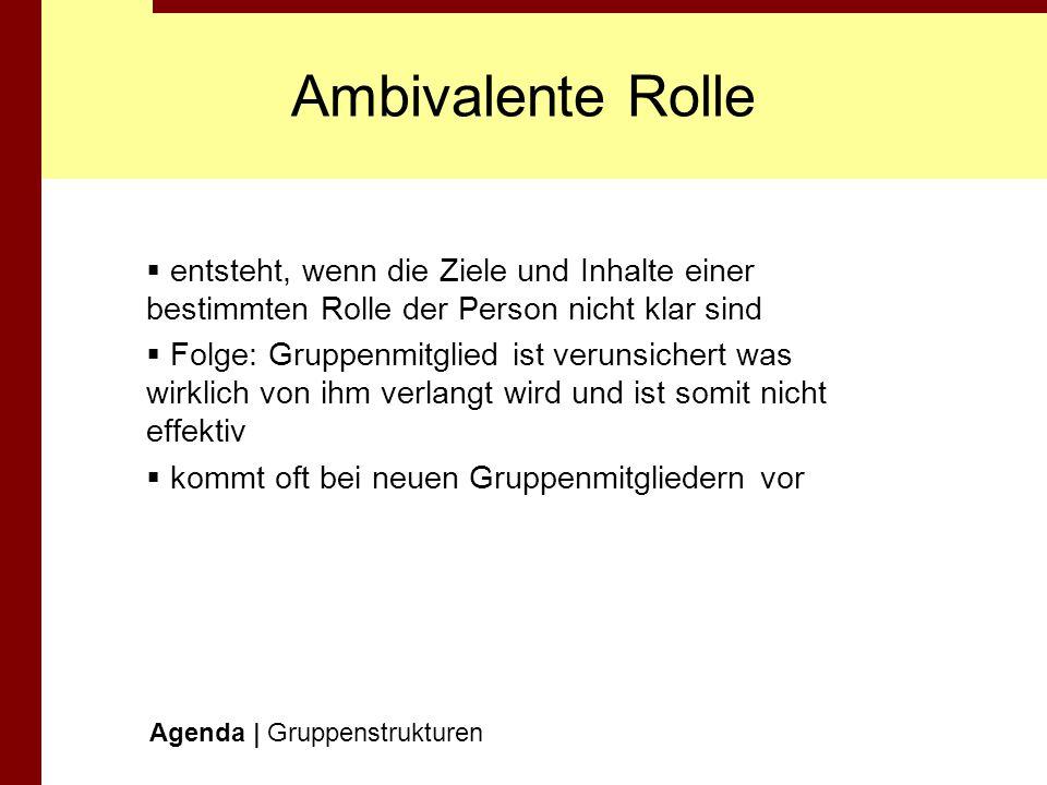 Ambivalente Rolle entsteht, wenn die Ziele und Inhalte einer bestimmten Rolle der Person nicht klar sind.