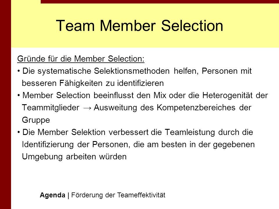 Team Member Selection Gründe für die Member Selection: