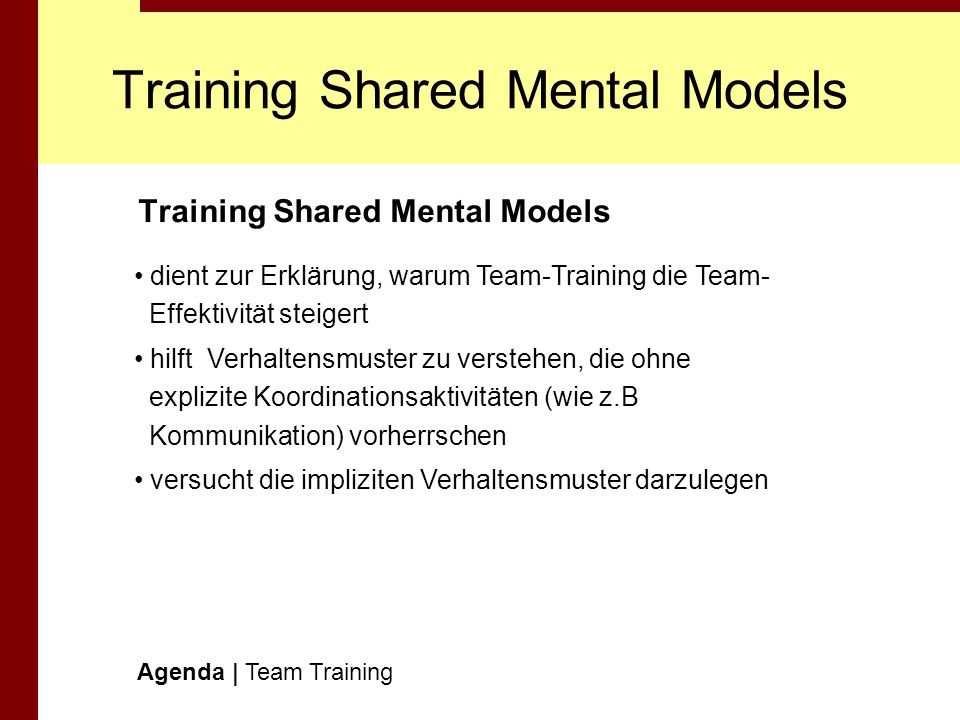 Training Shared Mental Models