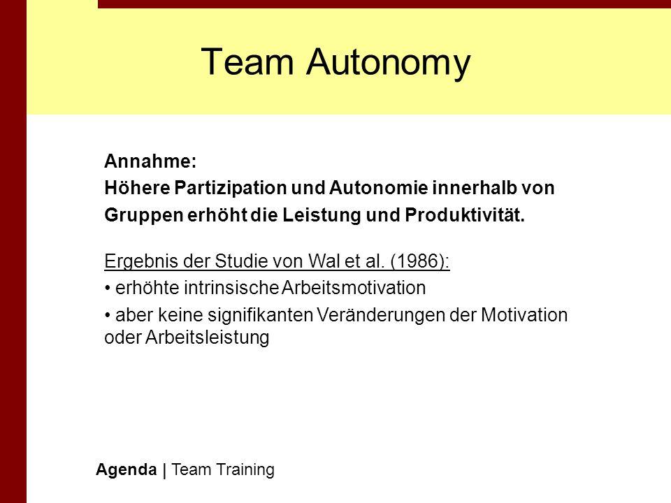 Team Autonomy Annahme: