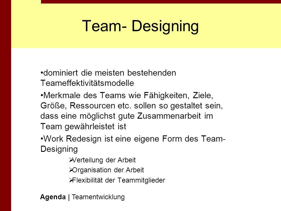 Team- Designingdominiert die meisten bestehenden Teameffektivitätsmodelle.