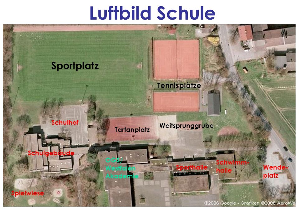 Luftbild Schule Sportplatz Tennisplätze Schulhof Weitsprunggrube