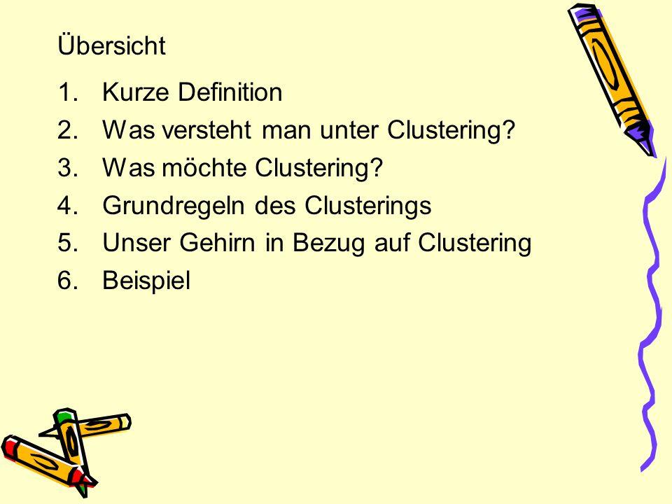 Übersicht Kurze Definition. Was versteht man unter Clustering Was möchte Clustering Grundregeln des Clusterings.