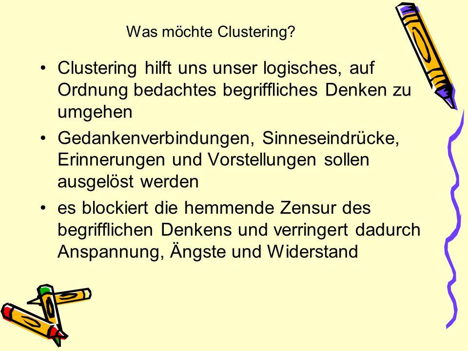 Was möchte Clustering Clustering hilft uns unser logisches, auf Ordnung bedachtes begriffliches Denken zu umgehen.