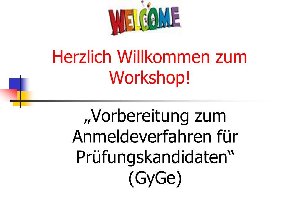 Herzlich Willkommen zum Workshop!