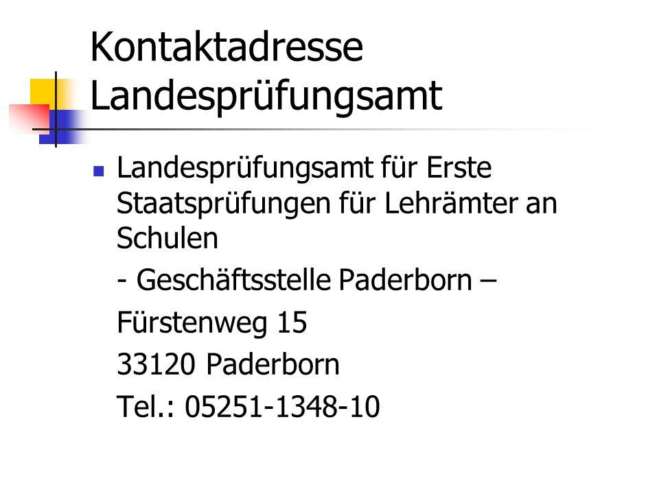 Kontaktadresse Landesprüfungsamt