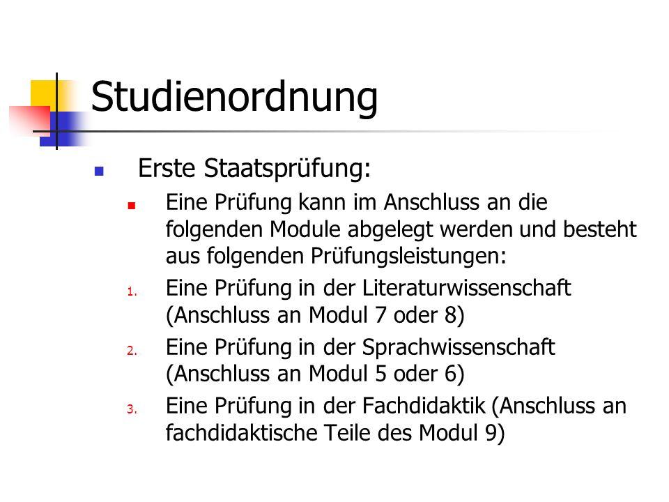 Studienordnung Erste Staatsprüfung: