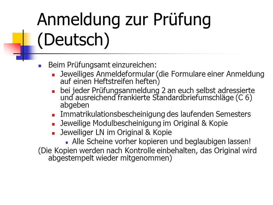 Anmeldung zur Prüfung (Deutsch)