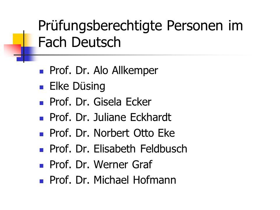 Prüfungsberechtigte Personen im Fach Deutsch