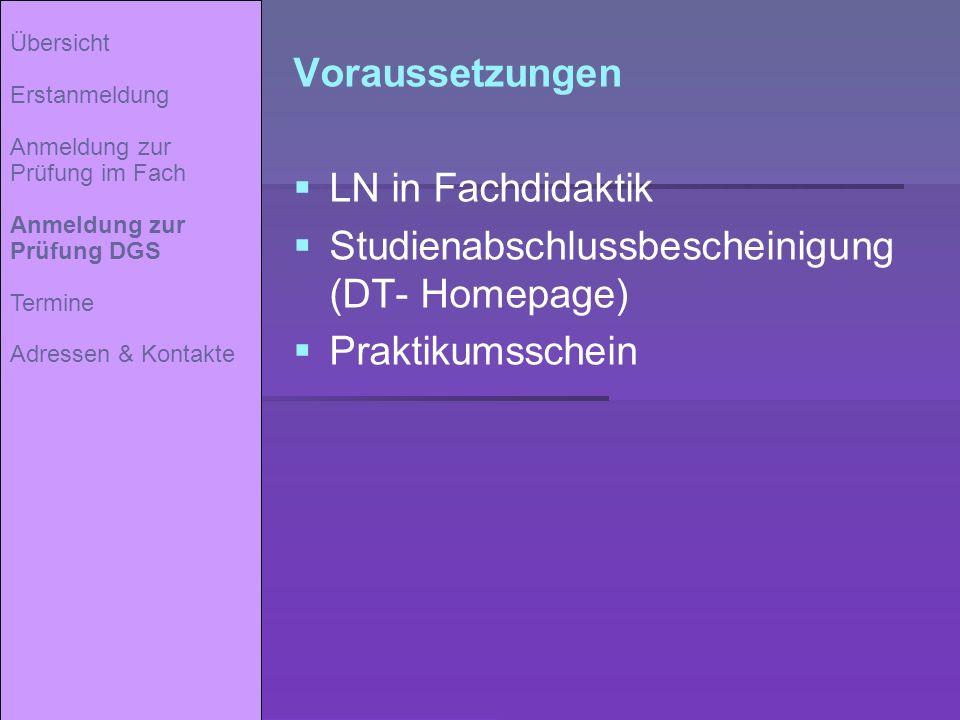 Studienabschlussbescheinigung (DT- Homepage) Praktikumsschein