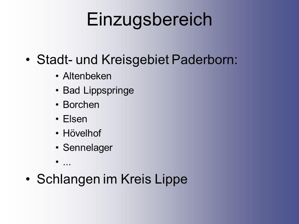 Einzugsbereich Stadt- und Kreisgebiet Paderborn: