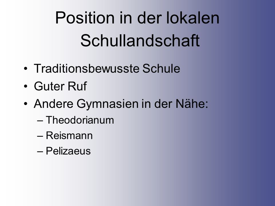Position in der lokalen