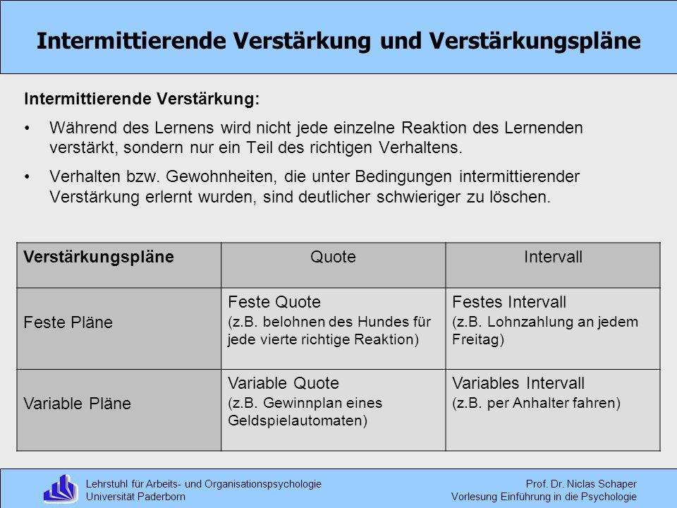 Intermittierende Verstärkung und Verstärkungspläne
