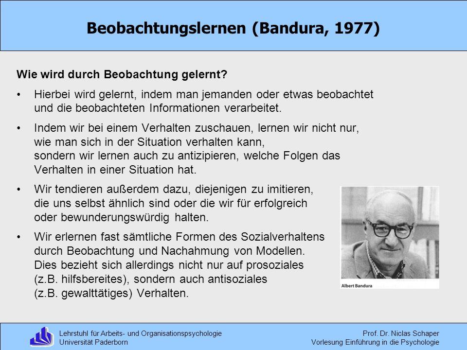 Beobachtungslernen (Bandura, 1977)