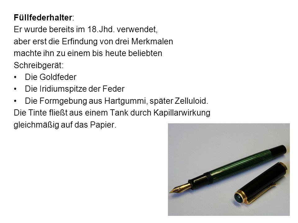 Füllfederhalter:Er wurde bereits im 18.Jhd. verwendet, aber erst die Erfindung von drei Merkmalen. machte ihn zu einem bis heute beliebten.
