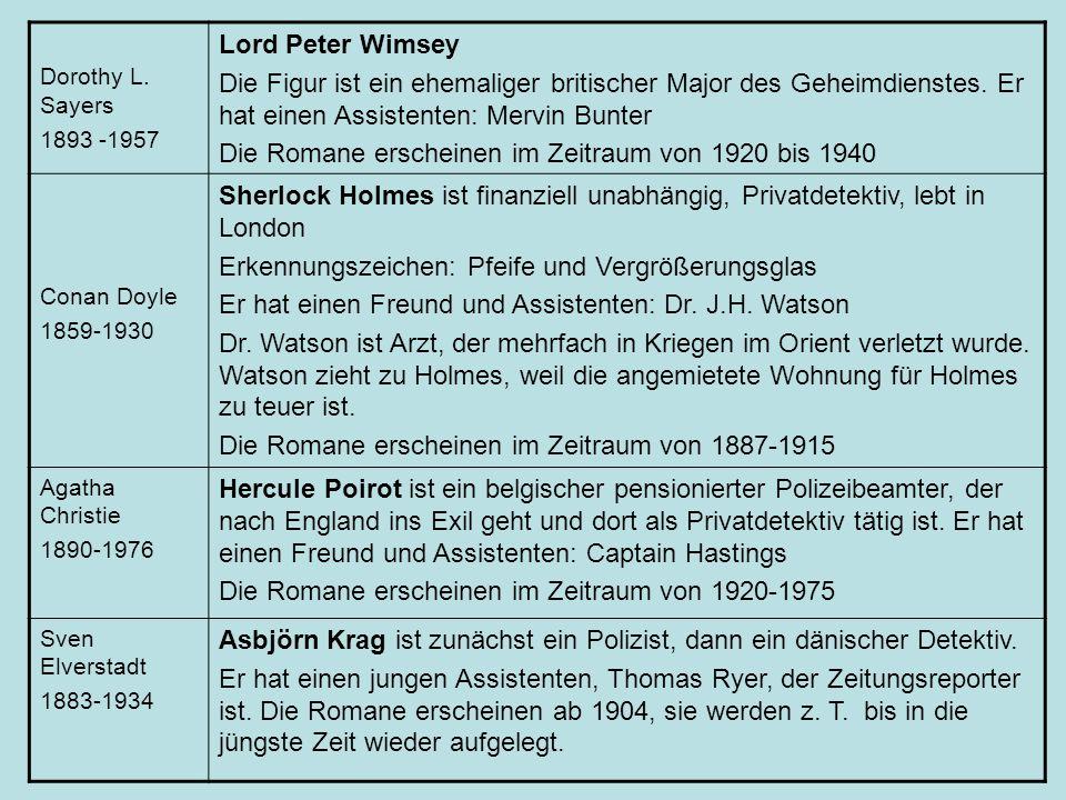 Die Romane erscheinen im Zeitraum von 1920 bis 1940