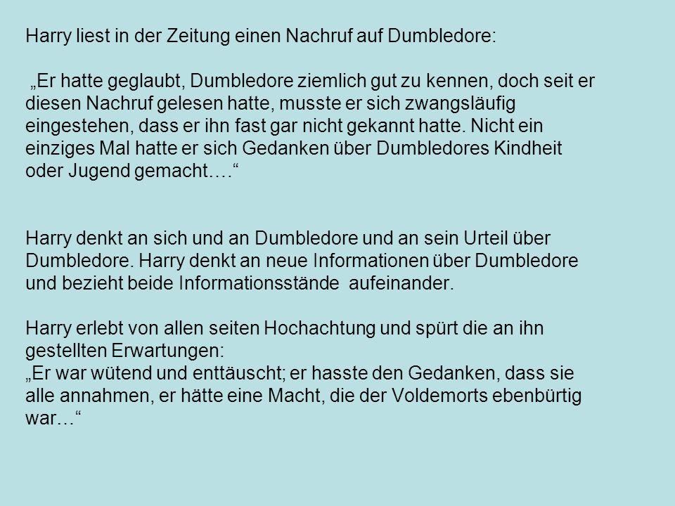 Harry liest in der Zeitung einen Nachruf auf Dumbledore:
