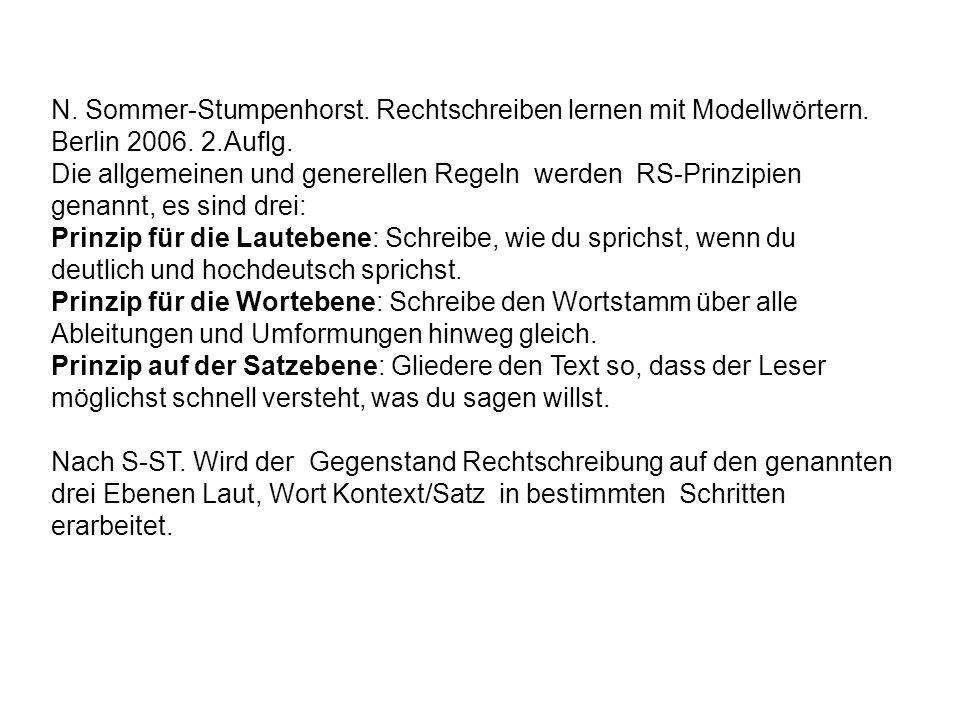 N. Sommer-Stumpenhorst. Rechtschreiben lernen mit Modellwörtern.