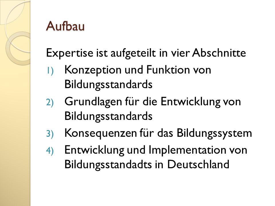 Aufbau Expertise ist aufgeteilt in vier Abschnitte