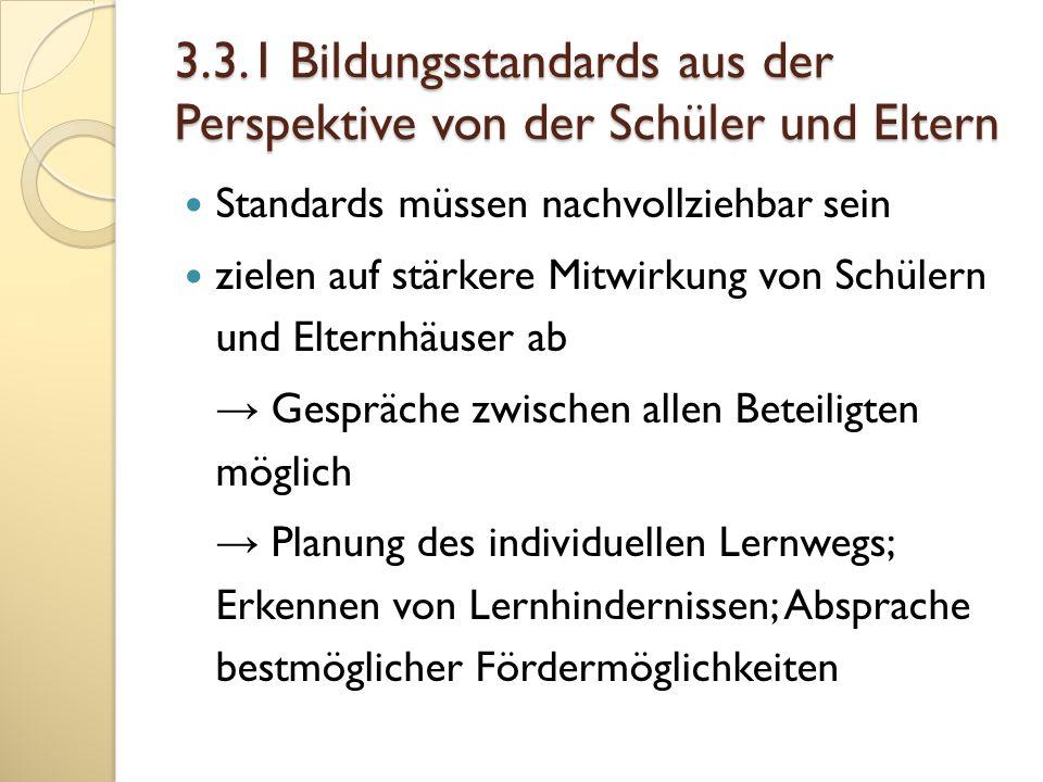 3.3.1 Bildungsstandards aus der Perspektive von der Schüler und Eltern