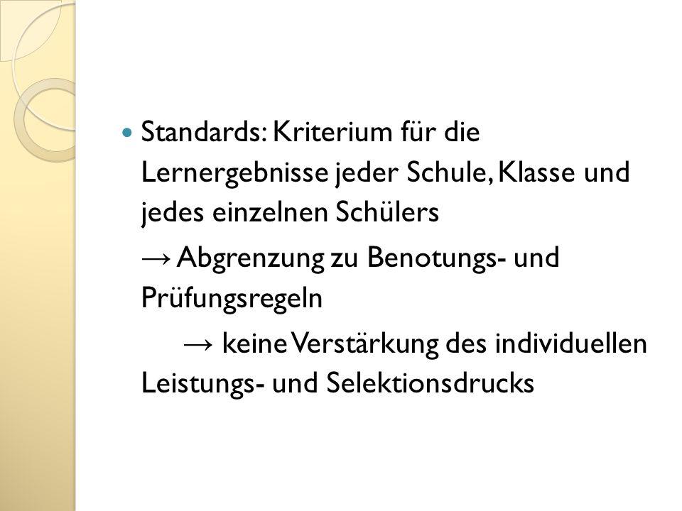 Standards: Kriterium für die Lernergebnisse jeder Schule, Klasse und jedes einzelnen Schülers