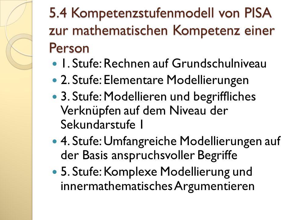 5.4 Kompetenzstufenmodell von PISA zur mathematischen Kompetenz einer Person