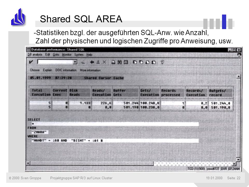 Shared SQL AREA Statistiken bzgl. der ausgeführten SQL-Anw. wie Anzahl, Zahl der physischen und logischen Zugriffe pro Anweisung, usw.