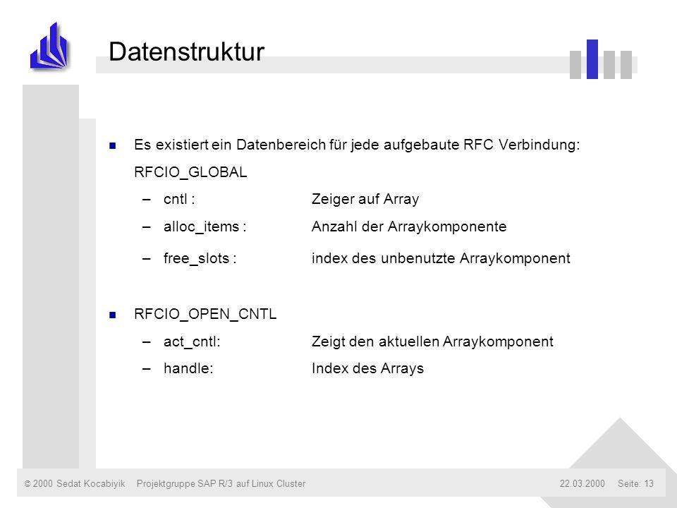 Datenstruktur Es existiert ein Datenbereich für jede aufgebaute RFC Verbindung: RFCIO_GLOBAL. cntl : Zeiger auf Array.