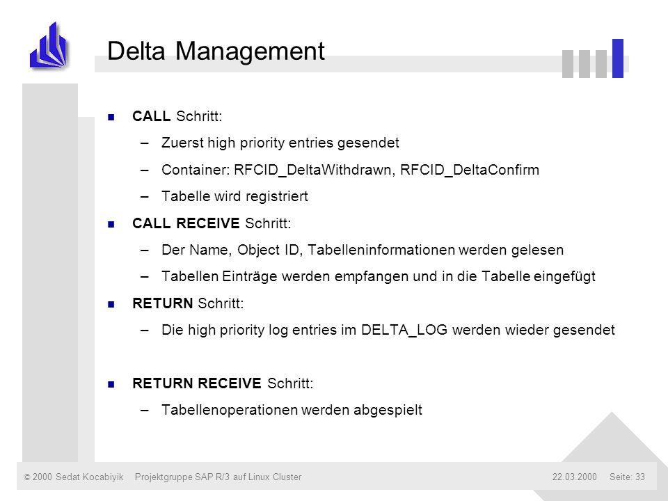 Delta Management CALL Schritt: Zuerst high priority entries gesendet