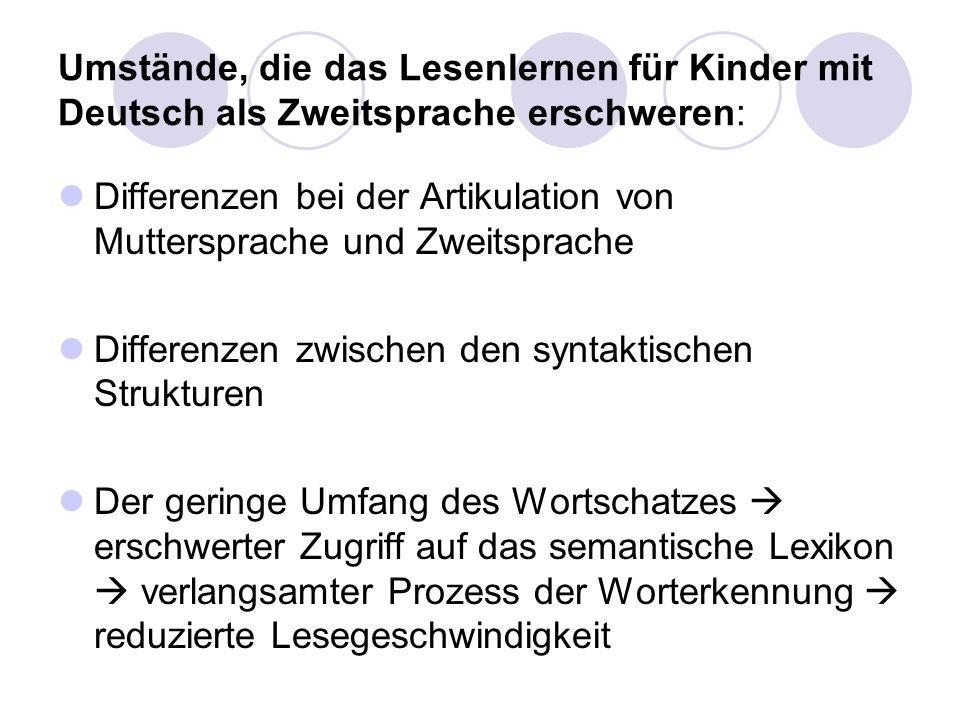 Umstände, die das Lesenlernen für Kinder mit Deutsch als Zweitsprache erschweren: