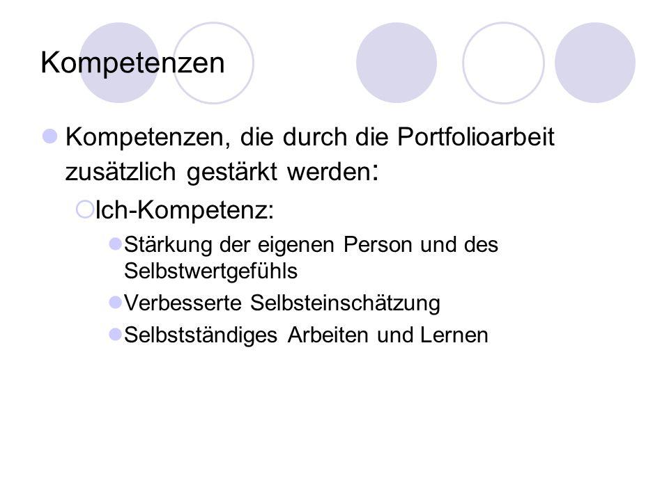Kompetenzen Kompetenzen, die durch die Portfolioarbeit zusätzlich gestärkt werden: Ich-Kompetenz: