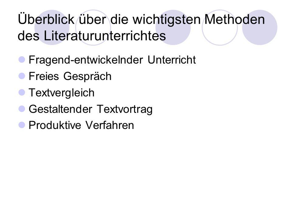 Überblick über die wichtigsten Methoden des Literaturunterrichtes