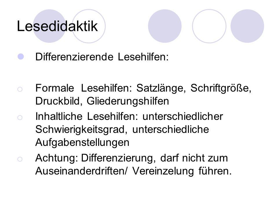 Lesedidaktik Differenzierende Lesehilfen: