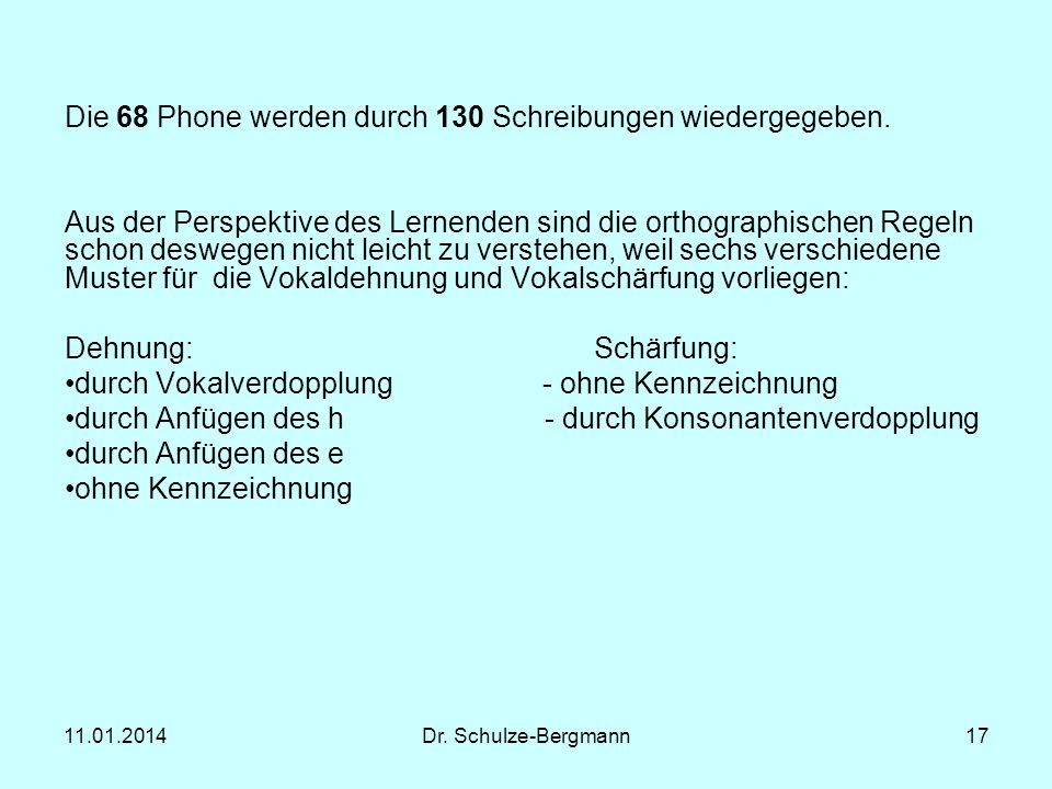 Die 68 Phone werden durch 130 Schreibungen wiedergegeben.
