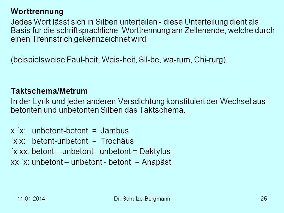 (beispielsweise Faul-heit, Weis-heit, Sil-be, wa-rum, Chi-rurg).