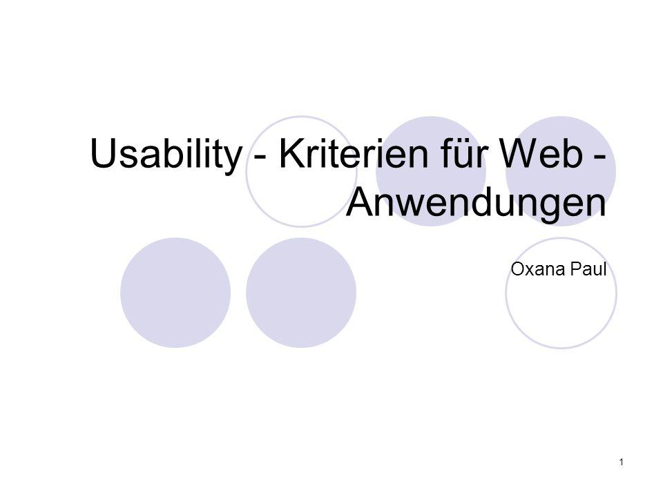 Usability - Kriterien für Web -Anwendungen