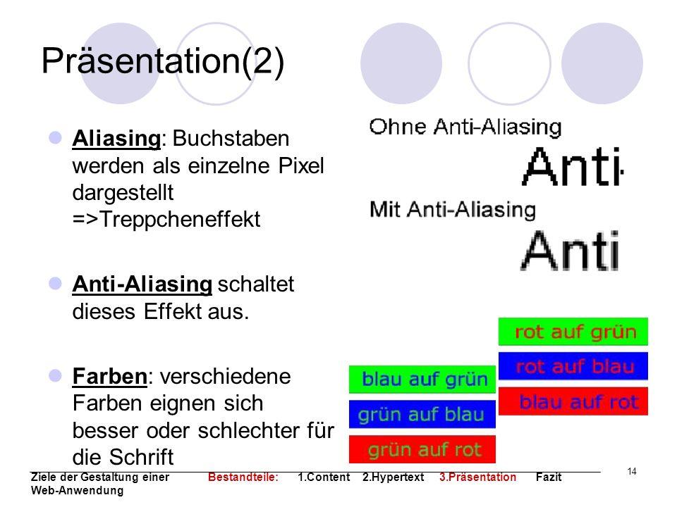 Präsentation(2)Aliasing: Buchstaben werden als einzelne Pixel dargestellt =>Treppcheneffekt. Anti-Aliasing schaltet dieses Effekt aus.